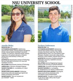 NSU University School Valedictorian and Salutatorian Featured in Sun Sentinel